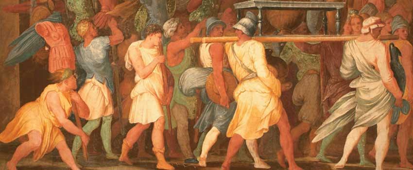 Affreschi e stucchi - Corteo trionfale di Lucio Emilio Paolo