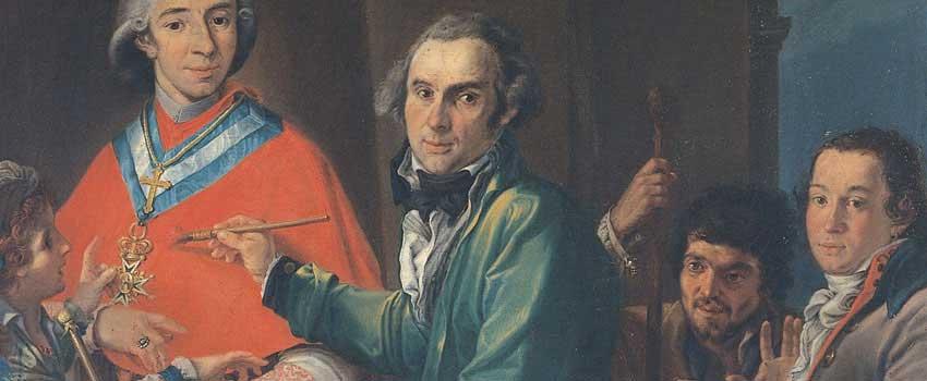 Dipinti - Autoritratto dell'artista mentre dipinge il ritratto di Giuseppe Doria Pamphilj