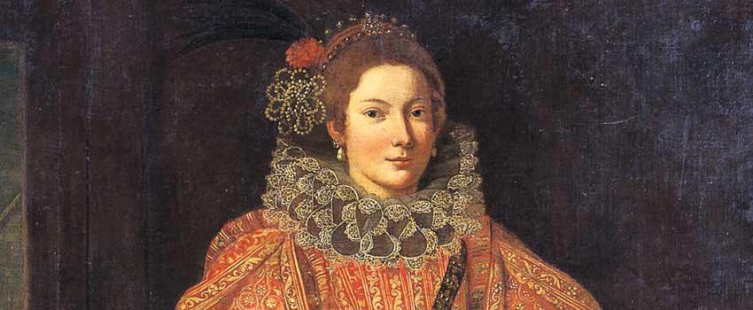 Dipinti - Ritratto di donna in abito rosso